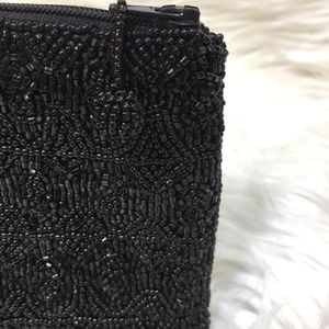 Bags - Black Beaded Evening Clutch Bag